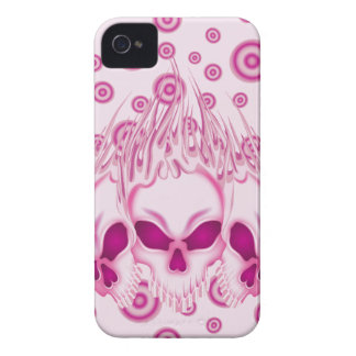 Flaming Pink Skulls Case-Mate iPhone 4 Cases