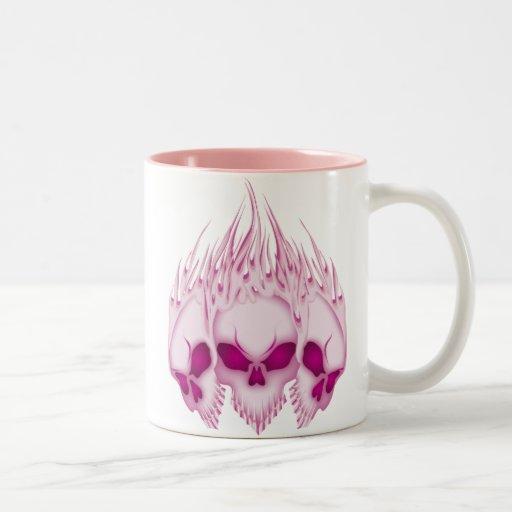 Flaming Pink Skulls Two-Tone Coffee Mug