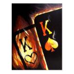 Flaming Pocket Kings Postcard Poker Print Cowboys