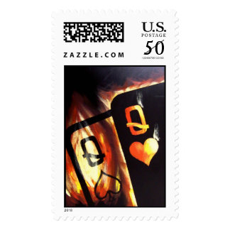 Flaming Pocket Queens Poker Stamps