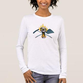 Flaming Pool Boy Skull Long Sleeve T-Shirt