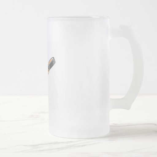 Flaming Puck 16 Oz Frosted Glass Beer Mug