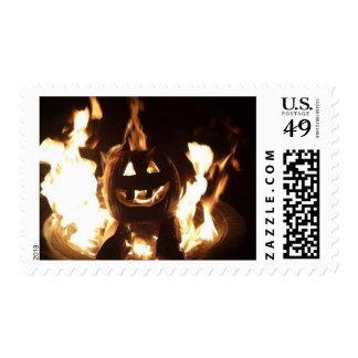 Flaming Pumpkin Postage Stamp