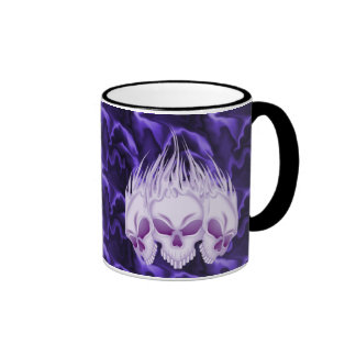 Flaming Purple Skulls Ringer Coffee Mug