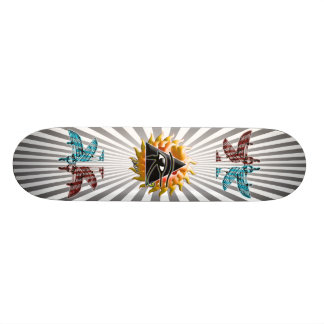 Flaming Pyramid Eye Skateboard
