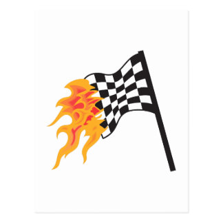 FLAMING RACING FLAG POST CARDS
