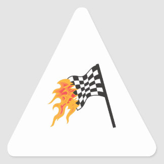 FLAMING RACING FLAG TRIANGLE STICKER