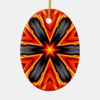 Flaming Red and Black Hexagram Design Ceramic Ornament
