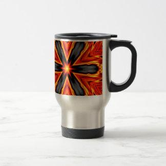 Flaming Red and Black Hexagram Design Travel Mug
