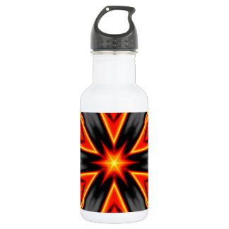 Flaming Red and Black Hexagram Design Water Bottle