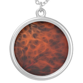 Flaming Red Fire Fractal Round Necklace