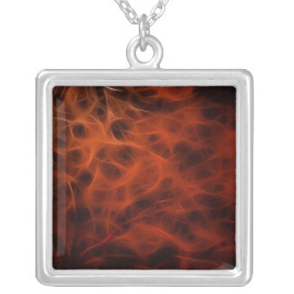 Flaming Red Fire Fractal Square Necklace