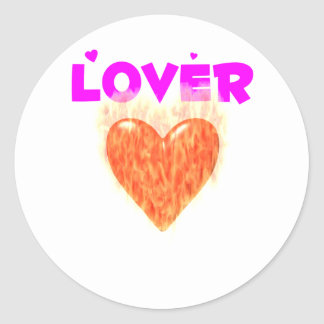Flaming Red Hot Lover Round Sticker