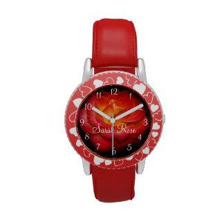 Flaming Red Rose II Wristwatch