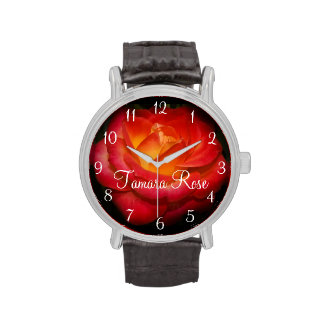 Flaming Red Rose III Wrist Watch