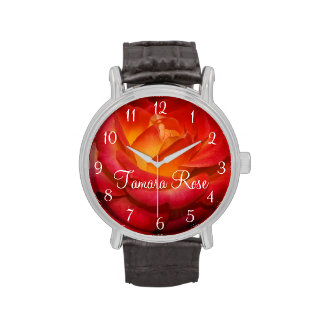 Flaming Red Rose Wrist Watches