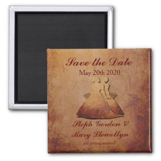 Flaming Red Rustic Lesbian Save the Date Magnet