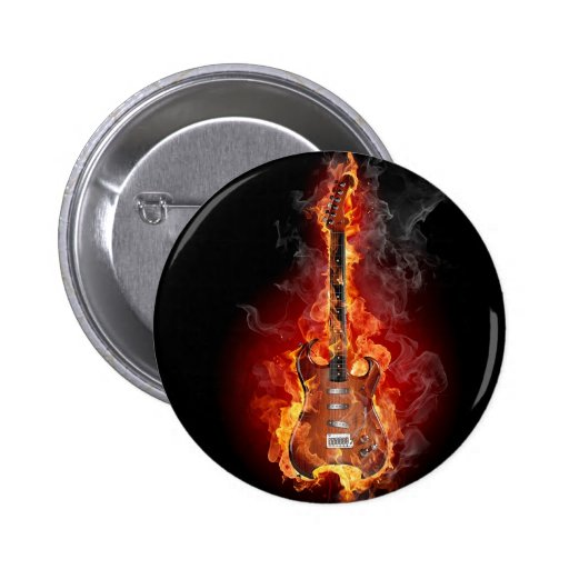 Flaming rock guitar 2 inch round button