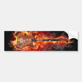 Flaming rock guitar bumper sticker
