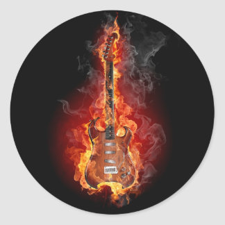 Flaming rock guitar classic round sticker