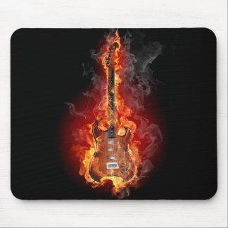 Flaming rock guitar mousepads