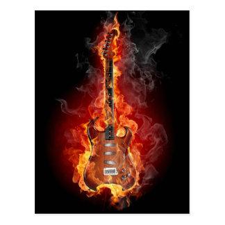 Flaming rock guitar postcard