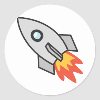 Flaming rocket classic round sticker