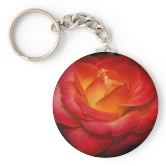Flaming Rose Keychain keychain