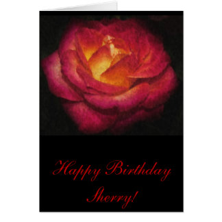 Flaming Rose Oil Painting Birthday Card