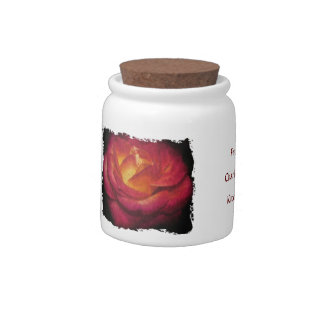Flaming Rose Oil Painting Grungy Edge Candy Dishes