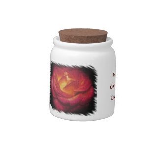 Flaming Rose Oil Painting White Edge Candy Dishes