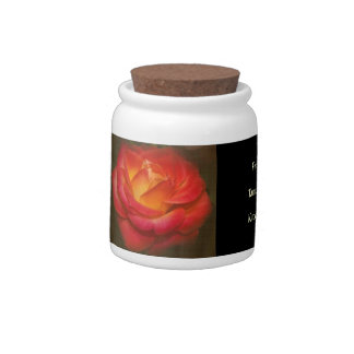 Flaming Rose on Parchment Candy Jars