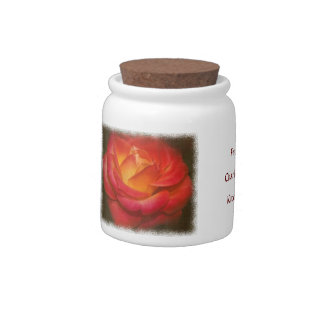 Flaming Rose On Parchment White Edge Candy Jars