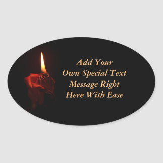 Flaming Rose Oval Sticker