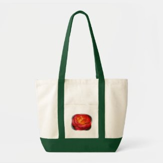 Flaming Rose Tote Bags