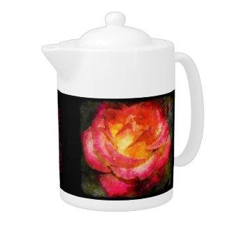 Flaming Rose Water Color Black Edge