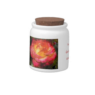 Flaming Rose Water Color Candy Jar