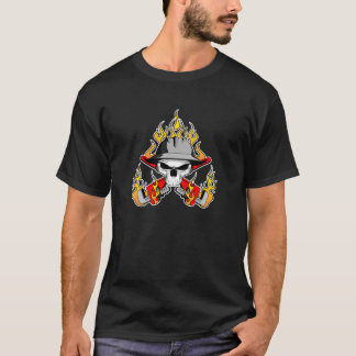 Flaming Roughneck Skull T-Shirt