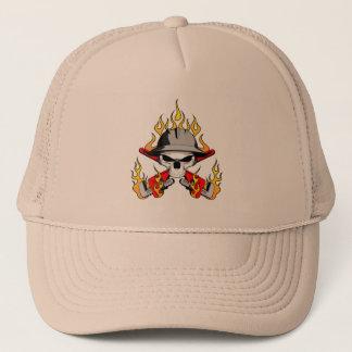 Flaming Roughneck Skull Trucker Hat