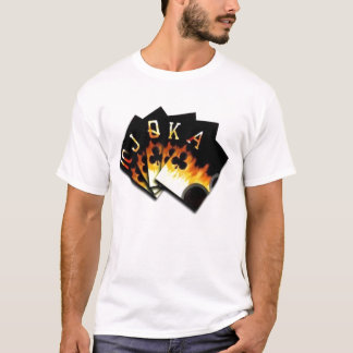 Flaming Royal Flush of Clubs T shirt Fanned Out