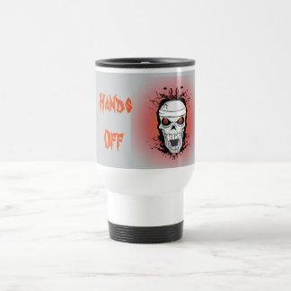 Flaming scull travel mug.