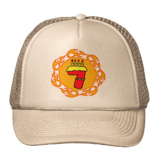 Flaming Seven 7th Birthday Gifts Trucker Hat