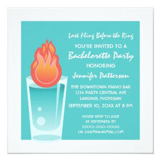 "Flaming Shot Bachelorette Party Invite, Aqua 5.25"" Square Invitation Card"