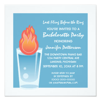 "Flaming Shot Bachelorette Party Invite, Blue 5.25"" Square Invitation Card"