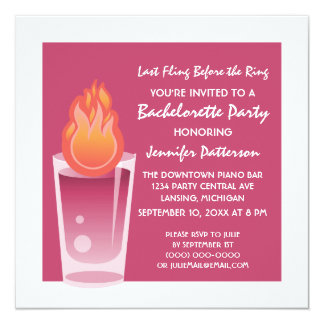 "Flaming Shot Bachelorette Party Invite, Fuchsia 5.25"" Square Invitation Card"