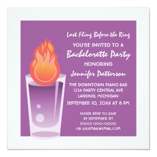 Flaming Shot Bachelorette Party Invite, Purple Card
