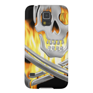 Flaming Silver Jolly Roger Cases For Galaxy S5