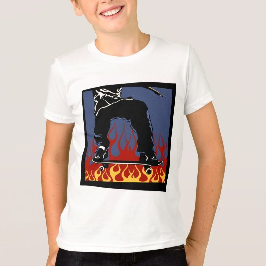 Flaming Skateboard t-shirt