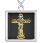 Flaming Skeleton Crucifix on a Pyre Pendants