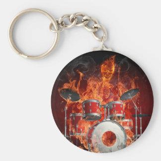 Flaming Skeleton on Drums Key Chain